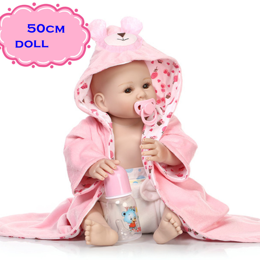 20inch Kids Favorate Toy NPK Full Silicone Vinyl Baby Dolls In Pink Nightgown Lifelike Reborn Dolls Babies Brinquedos For Sale latest cute npk full silicone body reborn baby dolls about 58cm with high quality lifelike baby dolls for kids gifts brinquedos
