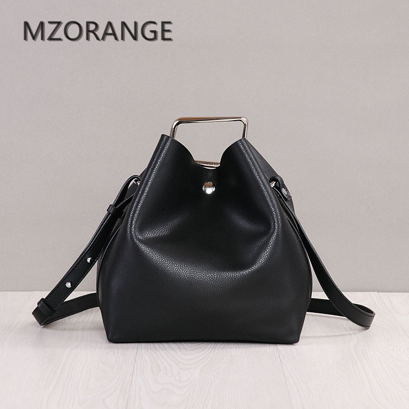 MZORANGE New 2018 women Bucket bag genuine leather handbag shoulder bag fashion casual lady Tote crossbody Bags eight color women handbag shoulder bag messenger bag casual colorful canvas crossbody bags for girl student waterproof nylon laptop tote