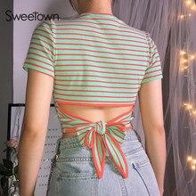 Sweetown Women Slim Sexy Orange In Green Striped Crop Top T