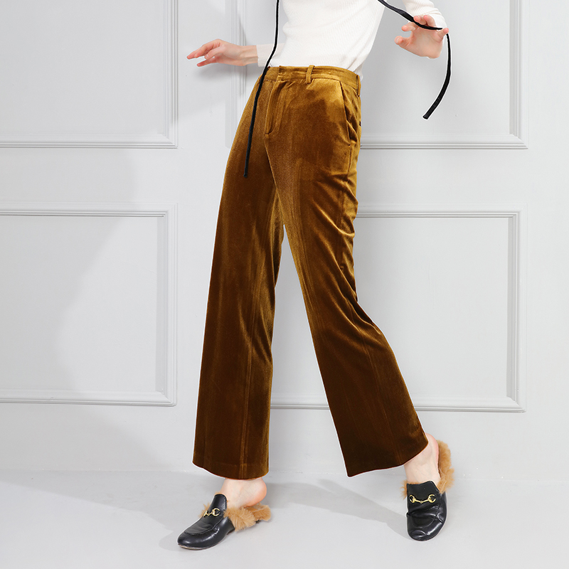 2017 spring gold velvet women pants straight fashion velvet loose casual wide leg pants female