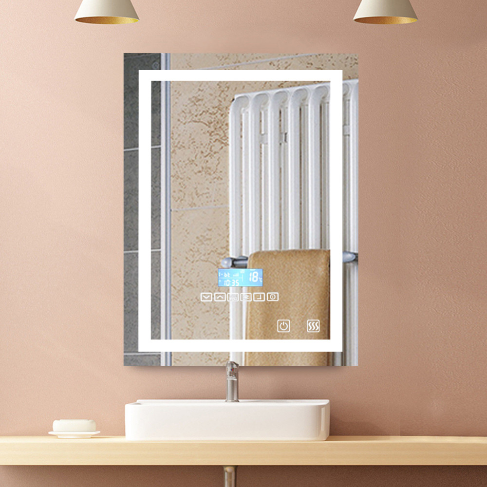 Fast Deliver 1pc Smart Mirror Led Bathroom Mirror Wall Bathroom Mirror Bathroom Toilet Anti-fog Mirror With Touch Screen 23w 6000k Hwc Punctual Timing Bath Mirrors Home Improvement