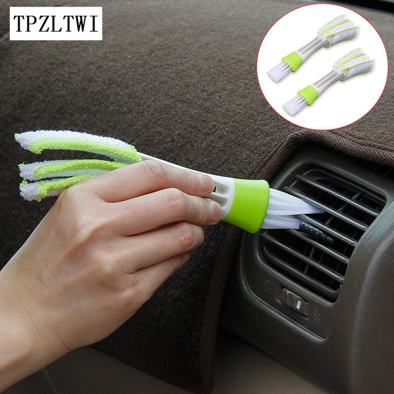TPZLTWI 2X Microfiber Car Cleaning Brush For Air-condition Cleaner Tools For Mercedes Audi Lada Suzuki Chery Kia Rio Ceed