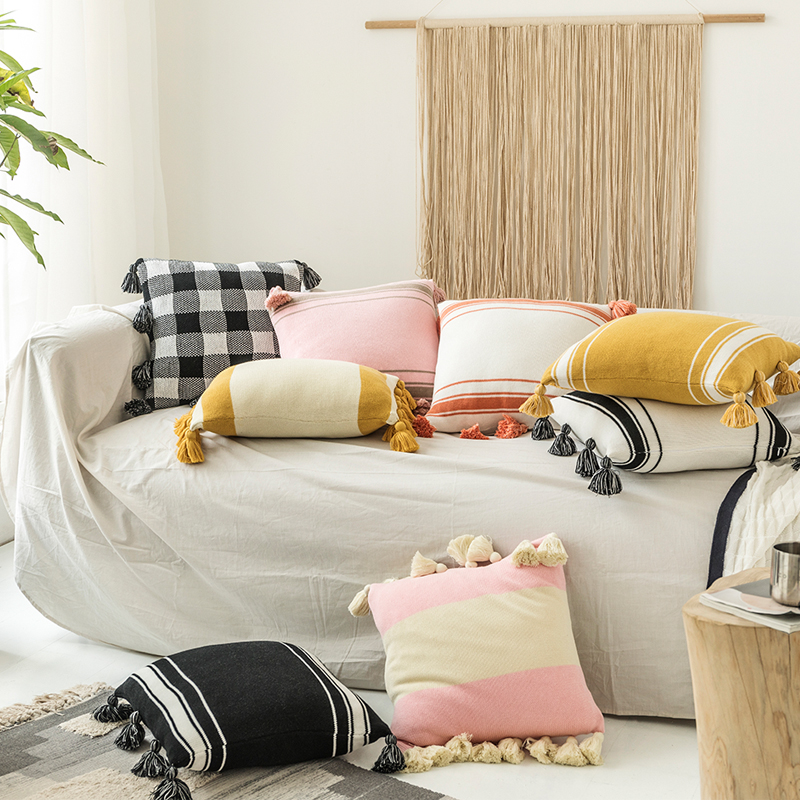 Knitted Cushion Cover Home Decoration Fringed Tassels 45x45cm/35x50cm Cotton Thread Pillow Cover Pink Black Nordic Style
