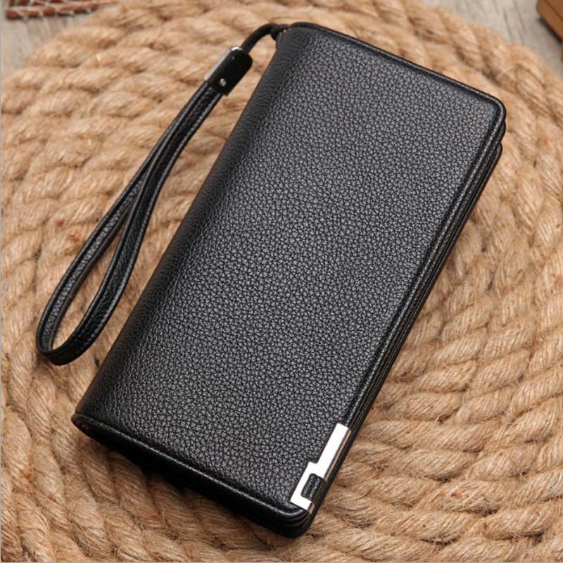 2018 new simulation leather long hand bag Litchi business version of the trend of fashion men's handbags folder mshg alligator skin new female bag korean version of the trend of hand painted handbags european and american fashion middle age
