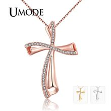 UMODE 2019 New Round Zircon Crystal Pendant Necklaces for Women Rose&White Gold Necklaces Box Chain Czech Drill Jewelry AUN0349(China)