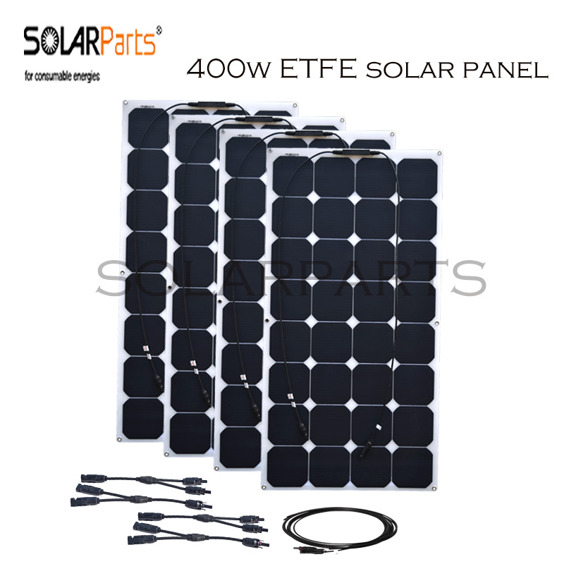 Solarparts 4pcs 100w ETFE flexible solar panel solar cell system for home RV yacht car 12v 24v battery charger MC4 connector high efficiency solar cell 100pcs grade a solar cell diy 100w solar panel solar generators