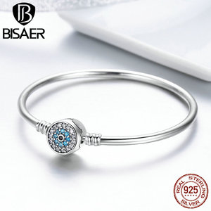Image 3 - BISAER Real 925 Sterling Silver Blue Lucky Evil Eyes Blue Eye Femme Bracelets & Bangles for Women DIY Accessories Jewelry ECB012