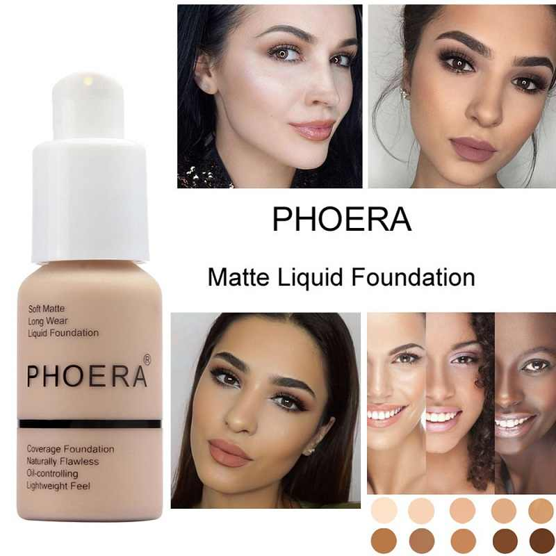 Phoera 30 Ml Matte Panjang Memakai Lembut Foundation Cair Wajah Makeup Basis Penuh Foundation Minyak Kontrol Lightfeel Cream