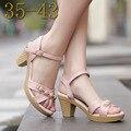 Abalorios de Cuero Real de Las Mujeres Sandalias de Plataforma Cómoda Zapatos de Gran Tamaño 40-43 Nuevo 2017 Verano Zapatos de Tacón Alto sandalias de Las Mujeres