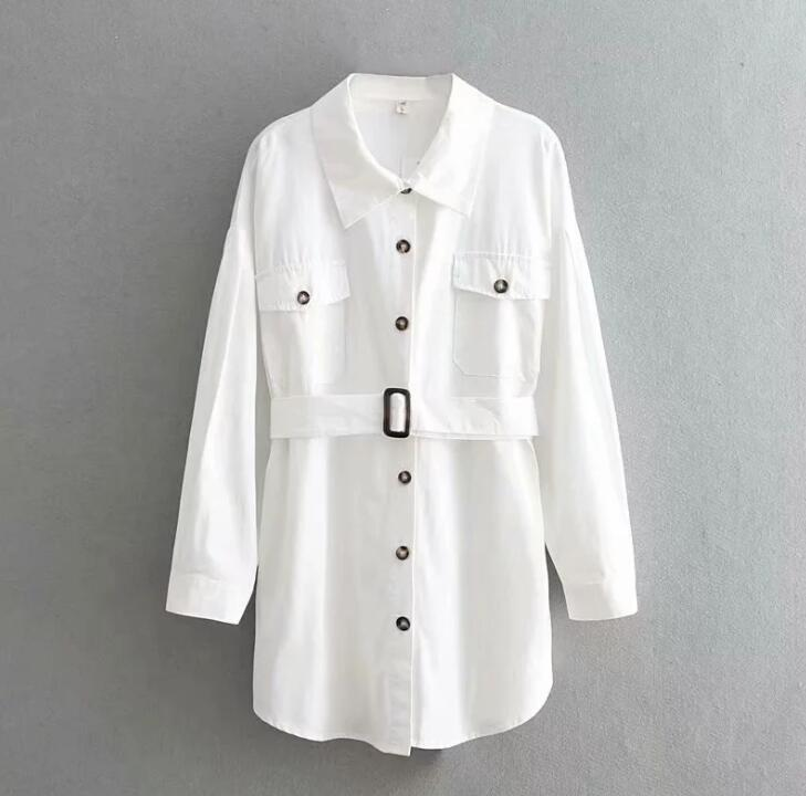 Women Long Shirt 2019 Spring Summer Cotton Shirts Solid Color Boyfriend Style Tops High Street Fashion 4