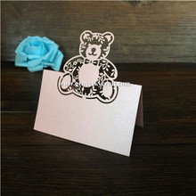 50Pcs free shipping hollow laser cut lovely bear design Wedding Birthday Seat Name table holder Invitation Cards party supplies j c hollow square design emerald cut amethyst pink