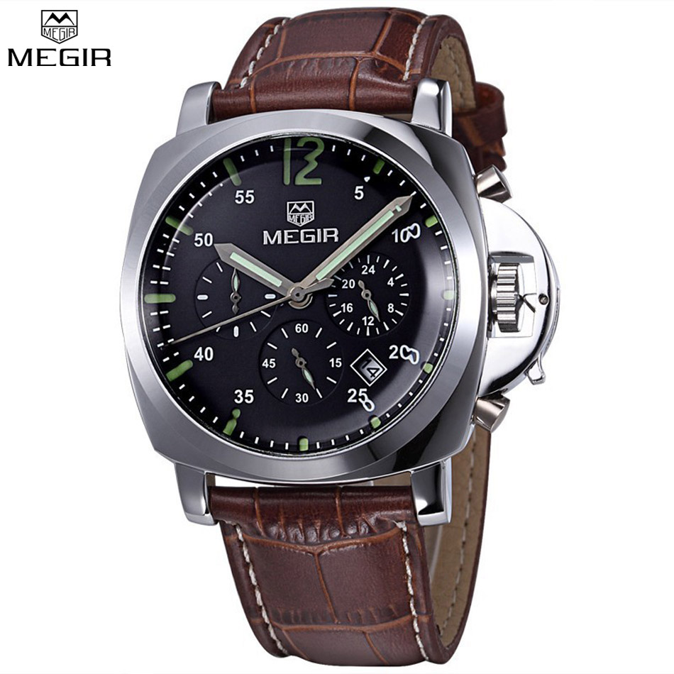 MEGIR Men Chronograph Multifunction Military Shows Leather Luxury Watches Waterproof Hot Sale Quartz Watches Relogio Masculino
