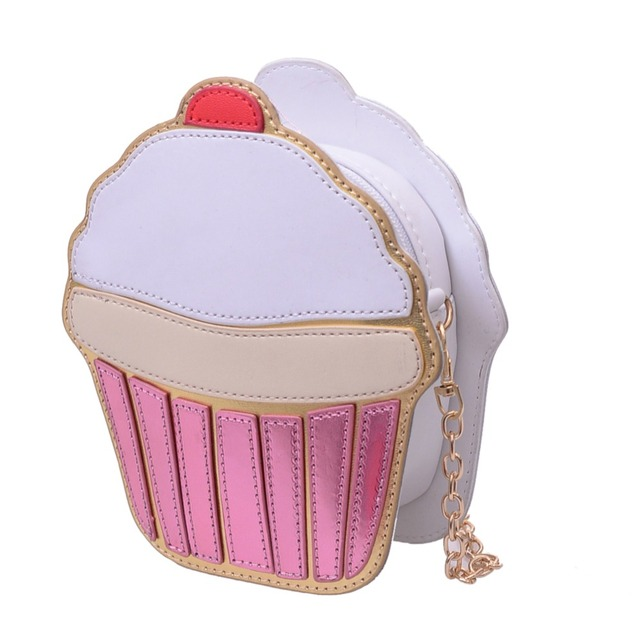 New Summer Cute Cartoon Women Ice Cream Cupcake Mini Bags Pu Leather Small Clutch Handbags Fashion