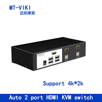 Mt Viki 2 Port HDMI Switch KVM Switch with Audio Auto Hotkey Switcher USB Mouse and Keyboard PC Host Selector MT 0201HK