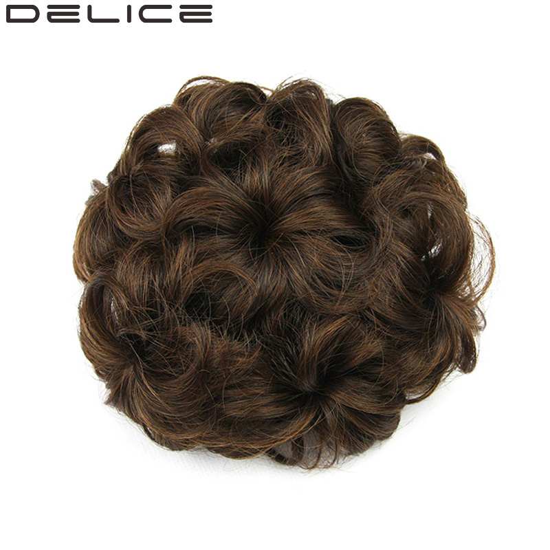 DELICE Diameter 12cm Drawstring Floral Women s Curly Synthetic Hair Chignon Pure Color Blonde