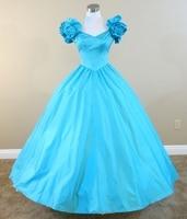 Blue Full Gown Civil war costume renaissance dress satin dress