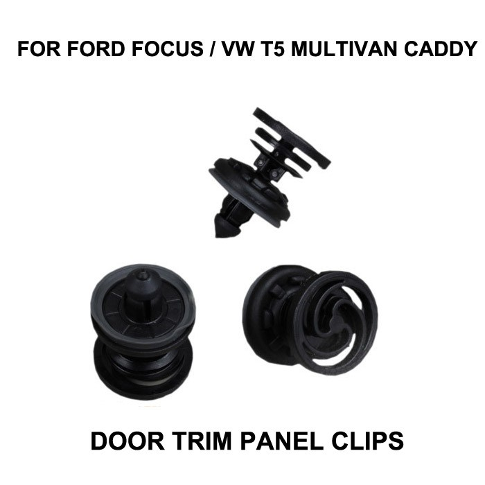 x10pcs FOR FORD FOCUS / VW T5 MULTIVAN CADDY DOOR TRIM PANEL CLIPS X10 BLACK NEW REPAIR SET