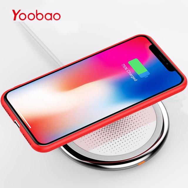 Yoobao Беспроводной Зарядное устройство для iPhone X Быстрая Зарядка универсальная QI Беспроводное зарядное устройство Pad для iPhone 8 Plus для samsung Galaxy S9 телефон