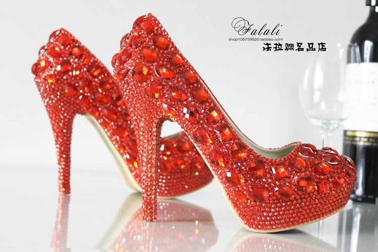 Aesthetic red rhinestone wedding shoes ultra high heels thin heels platform  shoes bridal shoes formal dress shoes red sole-in Women s Pumps from Shoes  on ... e885d064af33