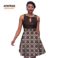 2017african style dress for women Splicing dress new fashion africane femme clothing traditional print cotton fabrics maxA722519