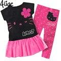1 Conjunto de Varejo 2015 Venda Quente Meninas set 100% algodão conjunto roupa de crianças, T-shirt + pant, hello kitty crianças definido, 2 cores