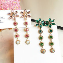 DREJEW Green Pink Crystal Flower Statement Earrings 2019 Long Tassel 925 Alloy Drop Earrings for Women Wedding Jewelry HE4321(China)