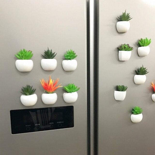 1 PC Frigorífico Etiqueta Bonito do Botão Flor Artificial Planta Suculenta Cactus Bonsai Planta Verde Imã de Geladeira Etiqueta DIY Decor