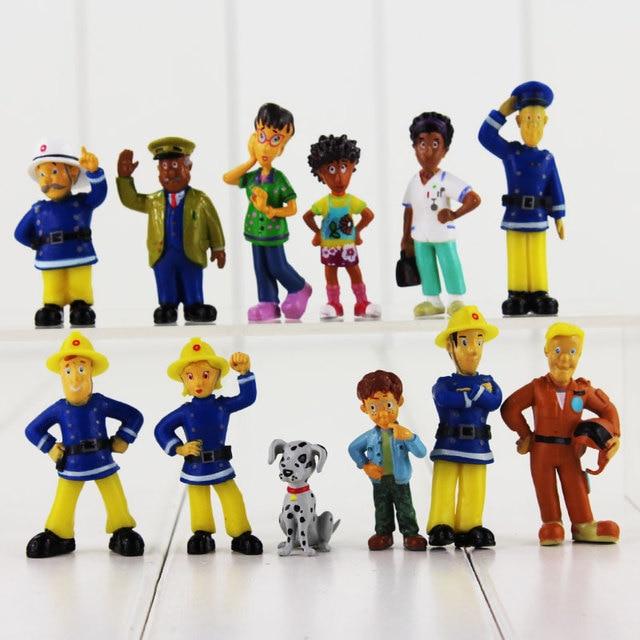 12 unids/lote dibujos animados bombero Sam figura bomberos oficial Steele Penny perro pequeño modelo Mini muñecas