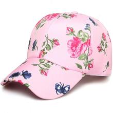 Mujeres moda ajustable algodón Floral impreso gorras de béisbol verano sol  Snapback hip-hop sombrero Sunbonnet 2018 moda 7fd0e1ddc69