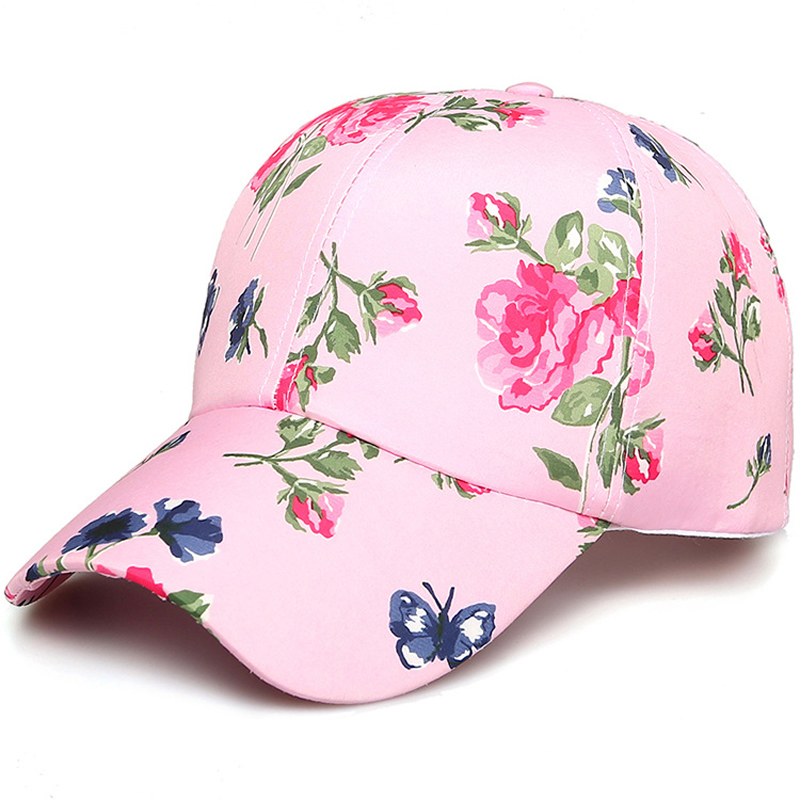 Women Fashion Adjustable Cotton Floral Printed   Baseball     Caps   Summer Sun Snapback Hip-Hop Hat Sunbonnet 2019 Trendy