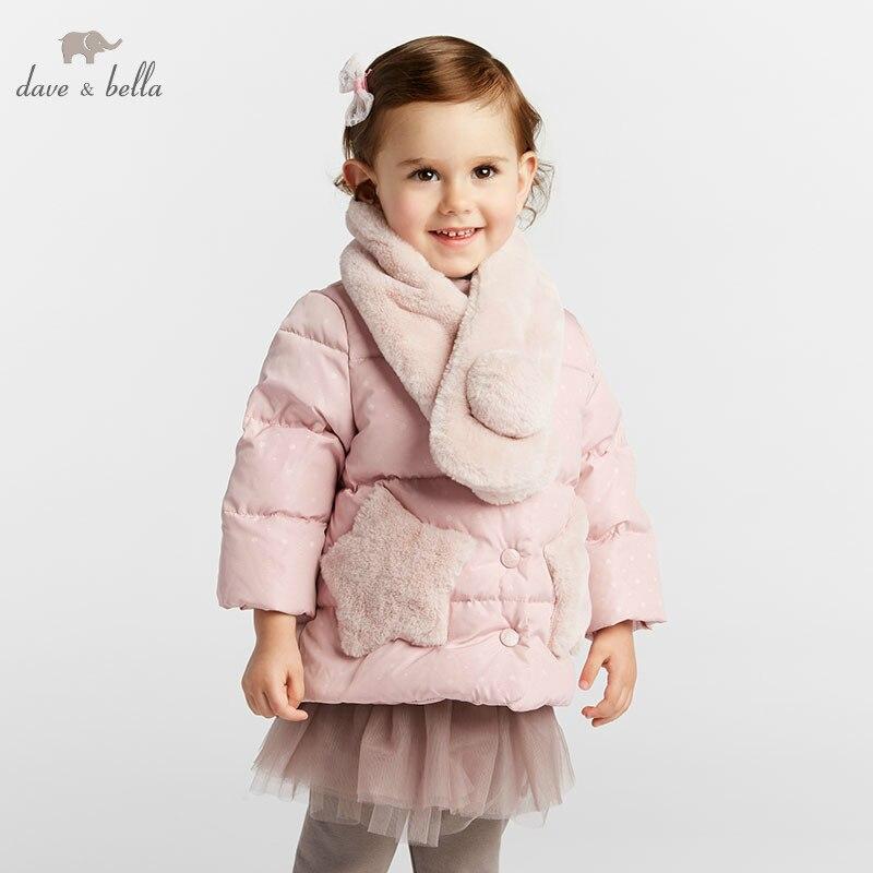 DBM8267 dave bella baby girl Down jacket children 90 white duck down outerwear fashion coat scarf