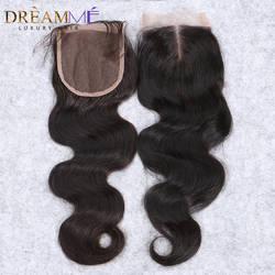 Бразильское тело волна Кружева Закрытие свободная часть Реми волосы закрытие с Бади волосы швейцарские кружева отбеленные узлы Dreamme