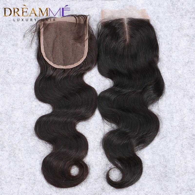 Brasilianske body wave snøre lukning gratis del remy hår lukning - Menneskehår (sort) - Foto 1