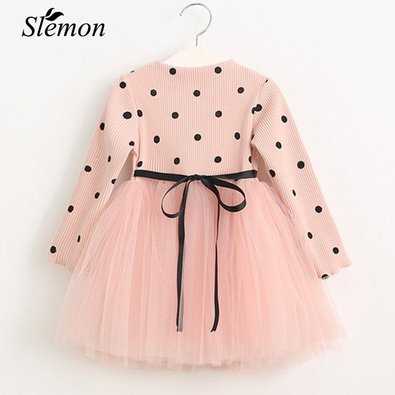 Girls Sweater Dress 2018 Casual Children Clothing Ball Gown Polka Dot Toddler Kids Sweet Clothes Little Girl Dresses Costume ladybird appliques dress wholesale clothing for girls princess baby boutique o neck clothes children polka dot dresses 6pcs lot
