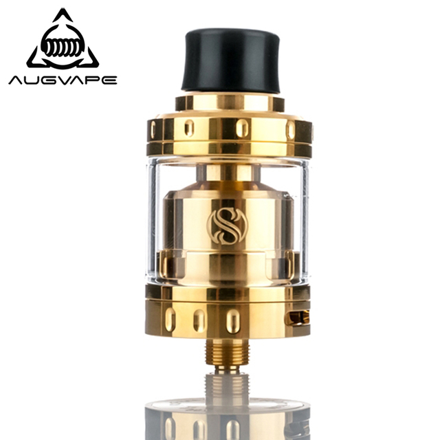 Augvape Vaporizer Tank Merlin mini RTA Atomizer 24mm 2ml Gold Plated Dual Coil Deck Dual Airflow Electronic Cigarette Atomizer