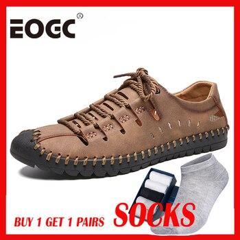 shoes Men Plus Size 48 Comfortable Men Loafers Quality Leather Casual Shoes 2019 Breathable Holes Men Flats Moccasins Shoes male