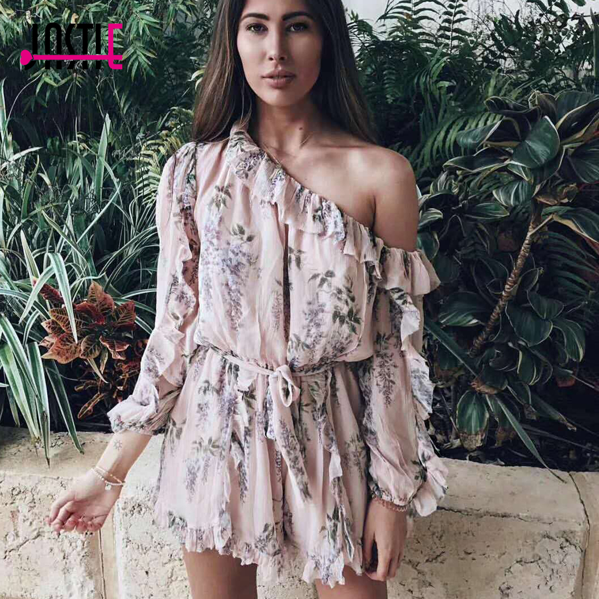f3664eda3c7f Jastie Ruffled Off Shoulder Playsuit Floral Print Women Romper 2018 Summer  Rompers Boho Chic Hippie Beach Playsuits Jumpsuit -in Rompers from Women s  ...