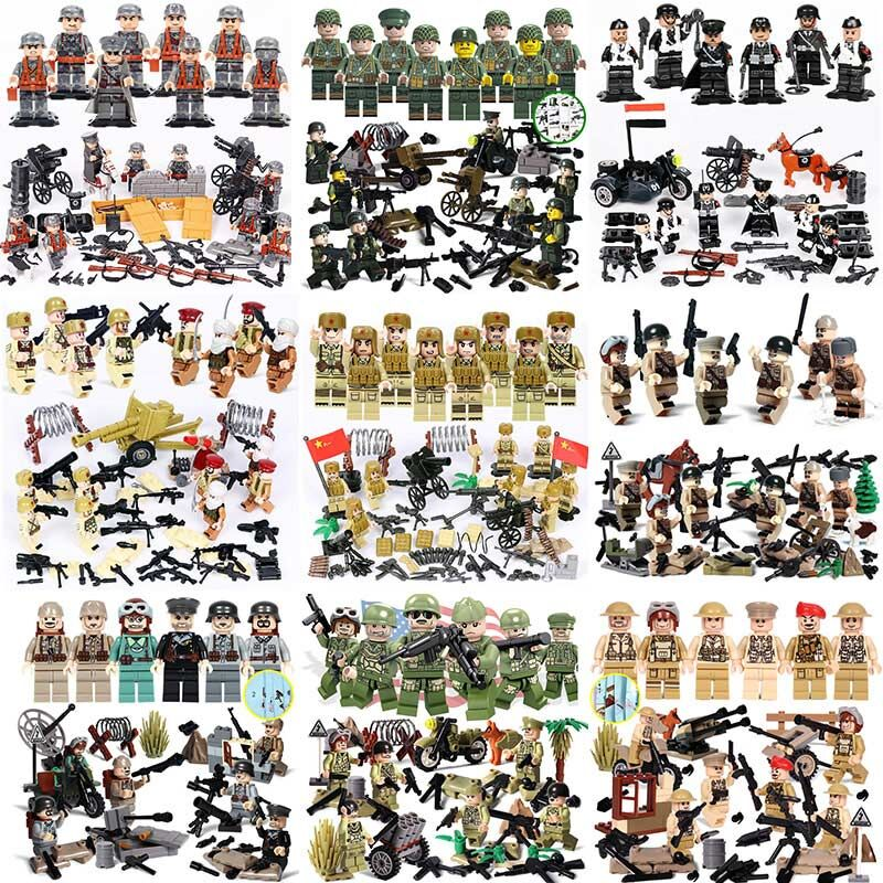 Oenux Classic World War 2 WW2 Soviet Japanese Chinese British US Army Soldiers Figures Military Building Block Brick MOC Kid Toy цена