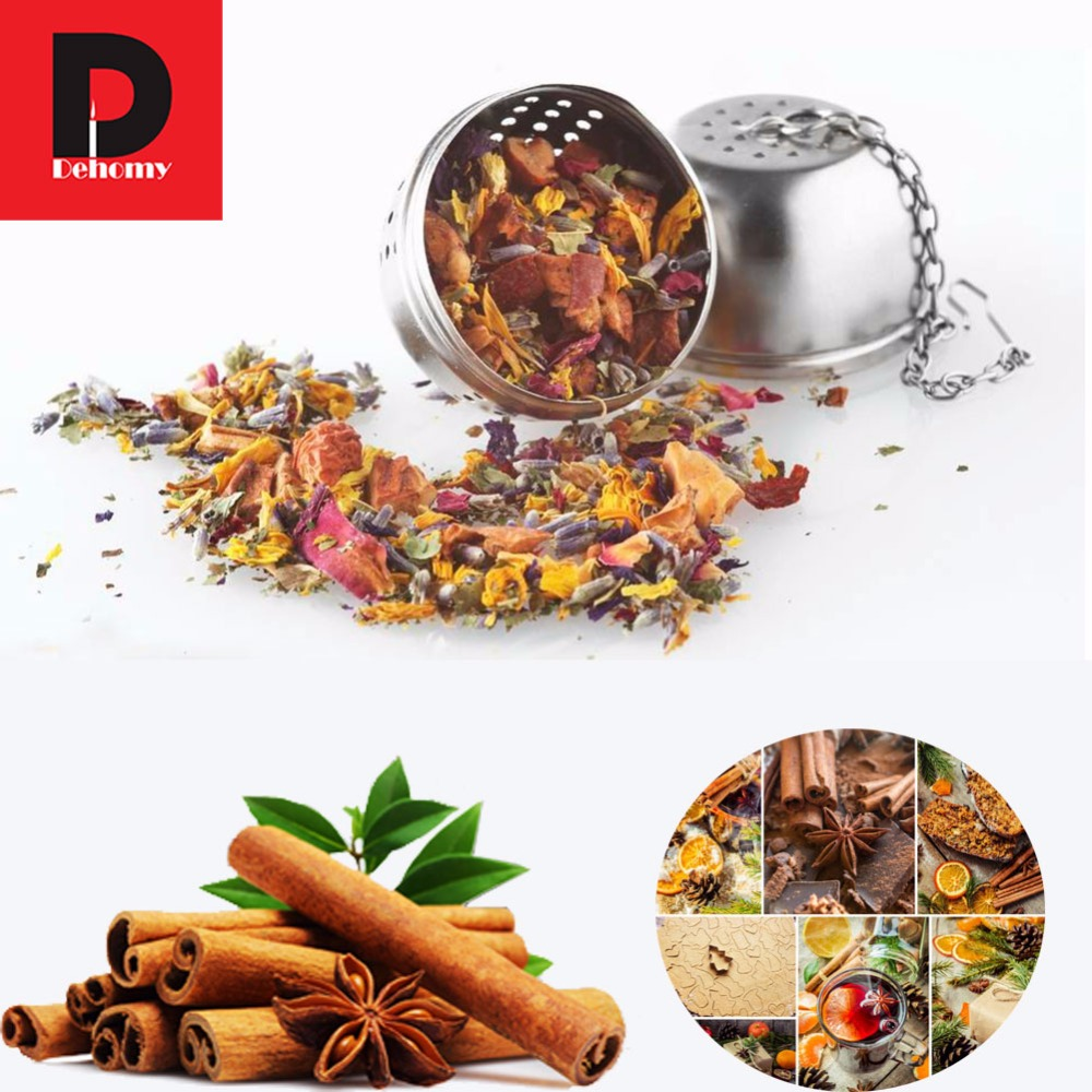 Dehomy Essential Stainless Steel Ball Tea Infuser Mesh Filter Strainer Hook Loose Tea Leaf Spice Home Kitchen Accessories 2pcs