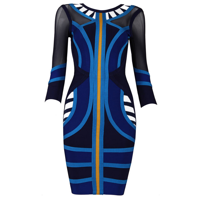 Summer Dress 2018 Long Sleeve Blue Transparent Dress Mesh Blue Pink Party Short Gown Festa Black Friday HL Office Vestido