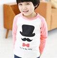 2016 Outono Crianças Menino Roupas de Algodão Manga Comprida Tops Imprimir O-pescoço T-shirt da Moda T-Shirt do Miúdo Roupa Dos Miúdos Presentes de Amor