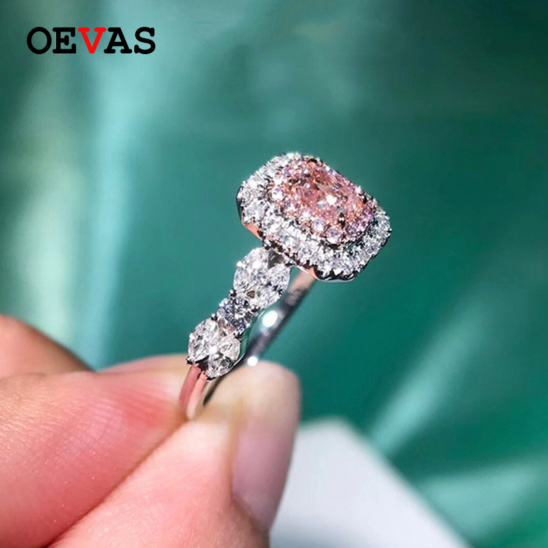 Shining CZ Princess rings for women High quality Pink stone Engagement ring Size 5-10 wedding jewelry 2019 new brand bague femme