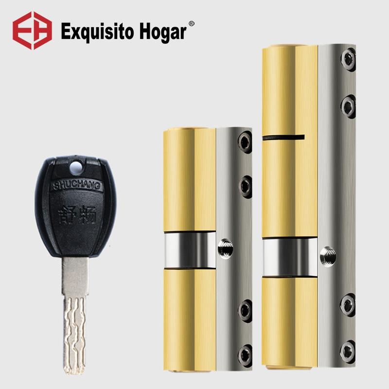 DIY Management Same Key Open Mix All Cylinder  Anti Prying Break Steel Bar Brass Serpentine Groove Key Door Lock Cylinder