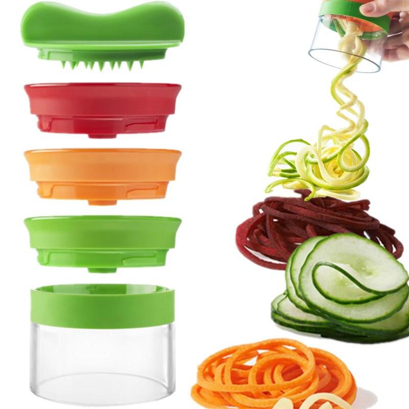 3 In 1 Multifunzione Verdura Silicer 3 Lama Spiralizer Pelapatate Frutta Curl Affettatrice A Spirale Affettatrice di Cottura rifornimenti Della Cucina
