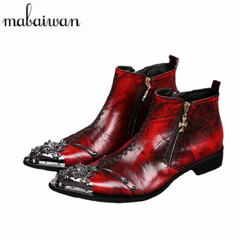 Mabaiwan Handmade Red Men Shoes Metal Pointed Toe Ankle Boots Genuine Leather Shoes Men Hombre Cowboy Military Boots Prom Shoes handsome red genuine leather men ankle boots metal pointed toe mens wedding dress shoes high top botas hombre cowboy boots