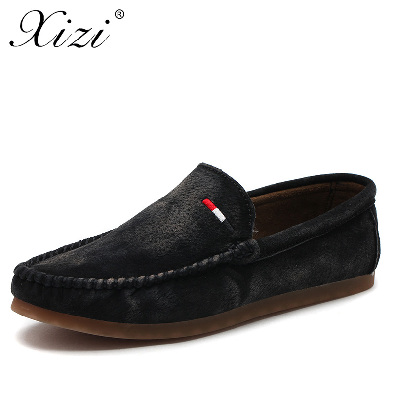 XIZI Quality Genuine Leather Men Loafers 2017 Designer Soft Breathable Casual Mens Leather Suede Flats Boat Shoes high quality genuine leather loafers men breathable casual shoes soft men flats fashion boat shoes lazy loafers man moccasin 2 5