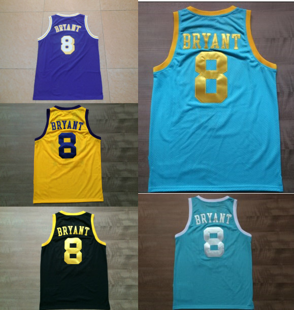 7fe4b436da73 8 Kobe Bryant Jersey All Star Blue Balck Yellow Purple Kobe Bryant  Basketball Jerseys Retro Vintage High Quality Cheap Sale