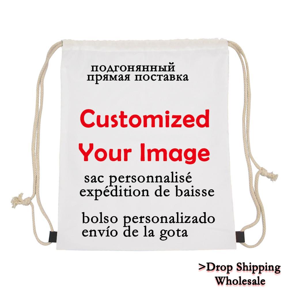Custom Bag Printed Women Backpack Daily Pack Small School For Kids Girls Mochilas Escolar Drawstring Bags