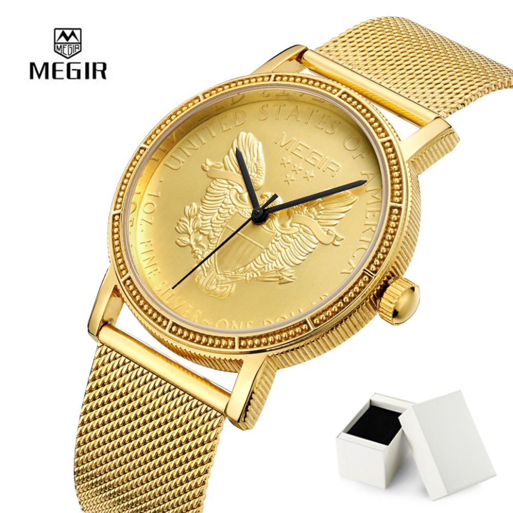 2018 Megir Men Sport Watch Wrist Watches for Men Brand Round Dial Stainless Steel Strap Formal Dress Wristwatch For Man With Box adjustable wrist and forearm splint external fixed support wrist brace fixing orthosisfit for men and women