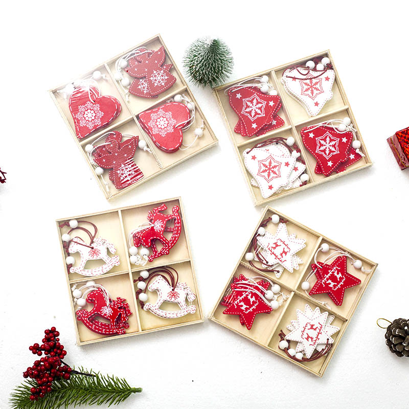 White Red Christmas Tree Ornament DIY Wooden Hanging ...